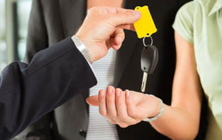Handing keys to customer