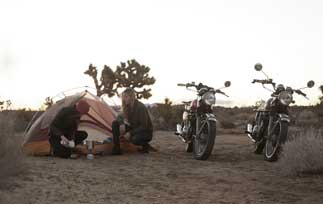 camping and motorcycles