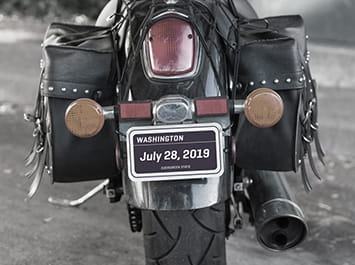 License plate on a motorcycle