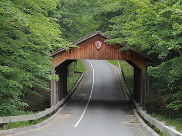 Road going through an old red bridge that has a roof on it