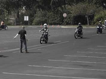 Motorcycle riders at a training course