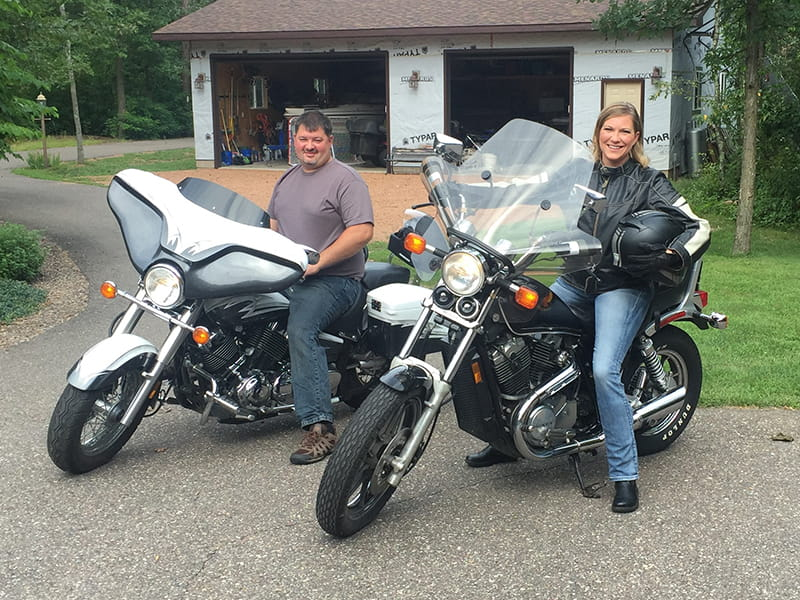 DeAnna and her husband on two motorcycles