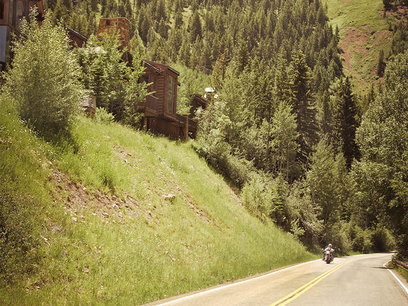 Motorcycle in Golden Aspen Valley
